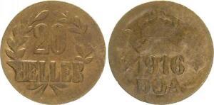 Deutsch-Ostafrika 20 Heller 1916T J. 725b Débil Repujado Vorzüglich-prägefrisch