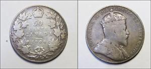 1906-Canada-50-Cents-Half-Dollar-Edward-VII-KM-12-SILVER-COIN-HK86