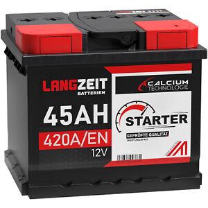 Autobatterie LANGZEIT 12V 45Ah Starterbatterie WARTUNGSFREI TOP ANGEBOT 44Ah