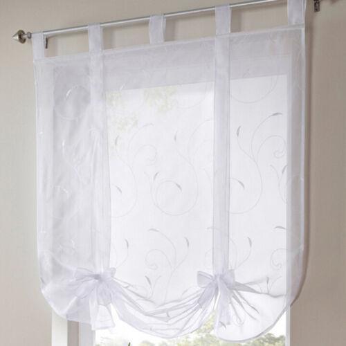 Fresh Tab Top Sheer Kitchen Balcony Window Curtain Liftable Blinds Home Decor Z