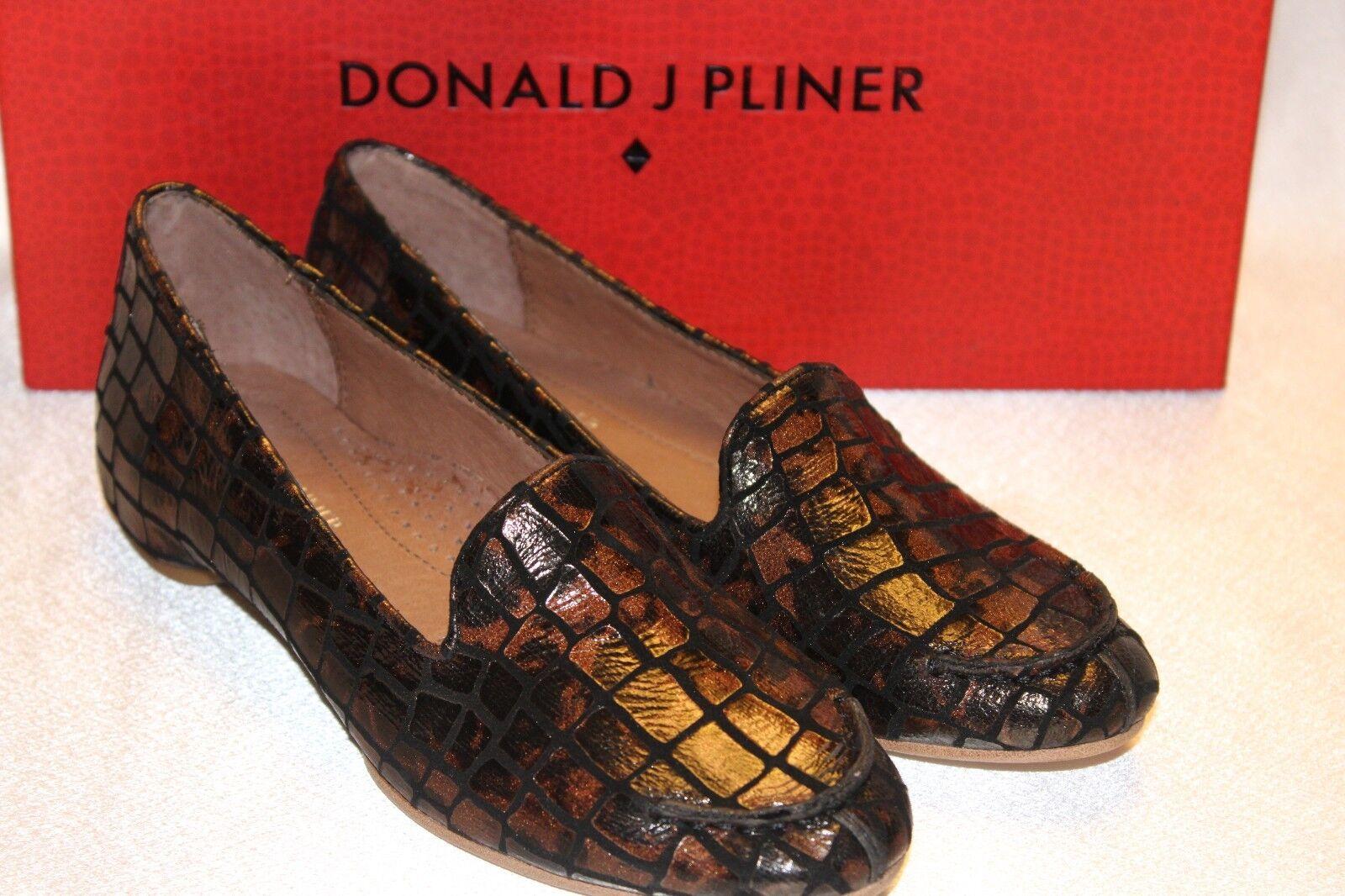 NEW  NIB Donald J Pliner BENGI Bronze Croco Patent Leather Smoking Loafer 5  195