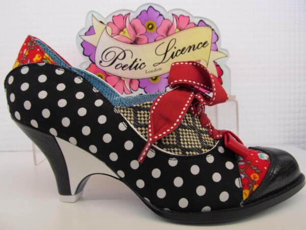 Ingenioso Licencia Poética Por Irregular Choice Fuerza De Belleza Negro Rojo Señoras Zapatos Con Cordones-ver