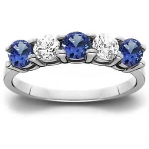 1-00Ct-Genuine-Blue-Sapphire-amp-Natural-Diamond-5-Stone-Ring-14K-White-Gold