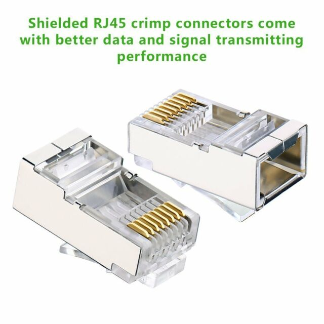 50X Modular Plug Connector RJ45 Cat6 8P8C Shielded Stranded Crimp HU
