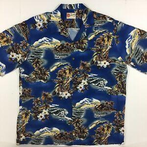 Hilo-Hattie-Hawaiian-Aloha-Shirt-Blue-Tropical-Guitar-Palm-Hibiscus-Mens-2XL