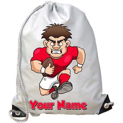 Rugby Player Personalizzato Palestra / Pe / Nuoto Borsa-grande Per Bambini Con Nome Regalo- Tieniti In Forma Per Tutto Il Tempo