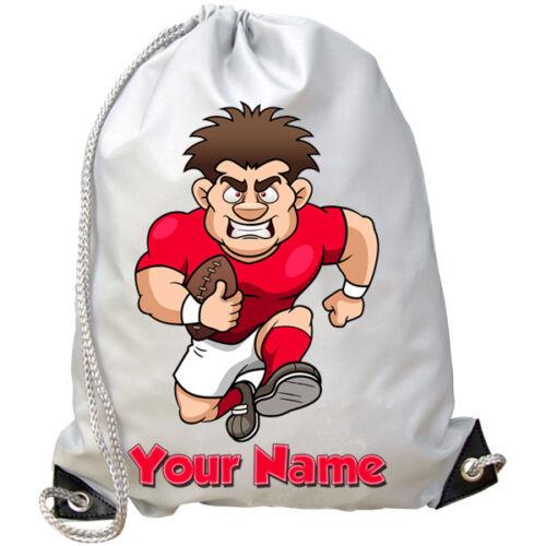 Rugby Player personalizzato Palestra Nuoto Borsa-grande per bambini con nome regalo PE