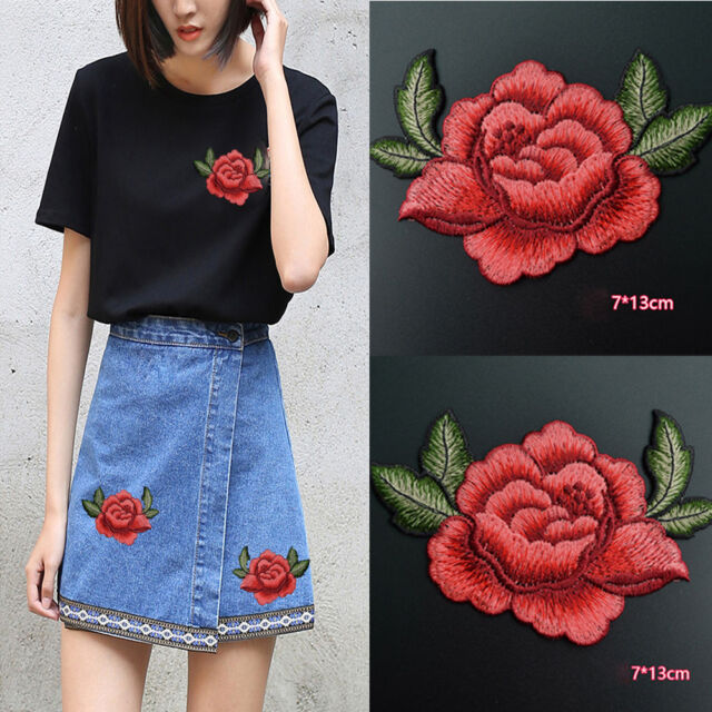 2PCS DIY Red Rose Flower Embroidery Applique Cloth Sewing on Patch Badge Crafts