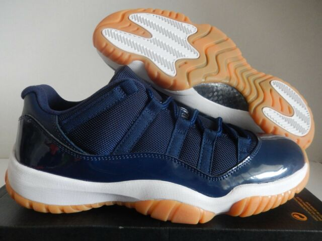 1dec2bf41e3 NIKE AIR JORDAN 11 RETRO LOW MIDNIGHT NAVY BLUE-GUM BROWN SZ 10  528895