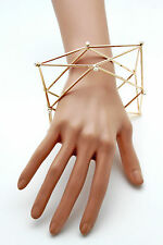 Women Cuff Bracelet Gold Metal Fashion Jewelry Geometric Shape Pearl Beads Large