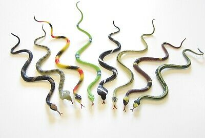 """3 NEW RAIN FOREST RUBBER SNAKES  PRETEND JUNGLE SNAKE 14/"""" TOY REPTILE"""