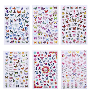 6 Sheet Nail Stickers Trendy Nail Decal Waterproof DIY Design Pink Butterfly UK