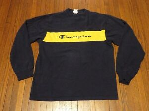 cfbbf121e226 Men's VTG 90's Champion Script Logo Navy Blue Yellow Long Sleeve T ...