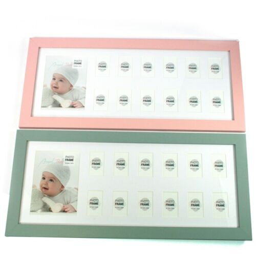 My First Year Pink or Blue Wooden 1st Year 13 Aperture Baby Photo Frame