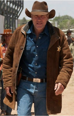 Special Limited Offer The Signatures Mens Longmire Waltt Mysteriess Robertt Sherif Cow Brown Suede Leather Jacket