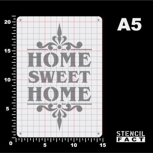 BO573 A5 Schablone Home Sweet Home Schriftzug Ornament