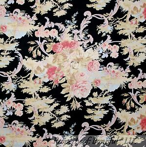 BonEful-Fabric-FQ-Cotton-Quilt-Black-Pink-Blue-Cream-Flower-Rose-Green-Tree-Leaf