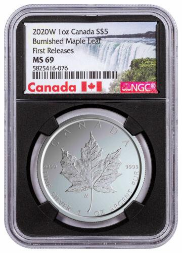 2020 W Canada 1 oz Burnished Silver Maple Leaf $5 NGC MS69 FR W//COA Blk SKU59503
