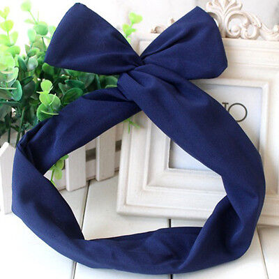 50's BUNNY EARS RIBBON TIE BOW BENDY WIRE / WIRED HAIR SCARF HEAD WRAP BAND