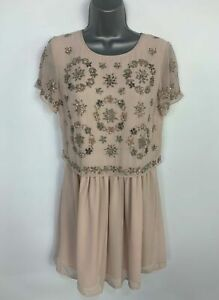 BNWT-WOMENS-NEW-LOOK-DUSKY-PINK-EMBELLISHED-PARTY-WEDDING-SHIFT-DRESS-SIZE-UK-10