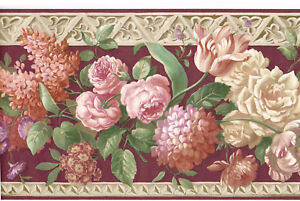 Architectural-Rose-Tulip-Flower-Burgundy-Crown-Molding-Shimmer-Wall-paper-Border