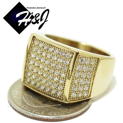 MEN's Gold Over Stainless Steel Silver 2.55 CT CZ Iced Out Bling Ring Size 7-12