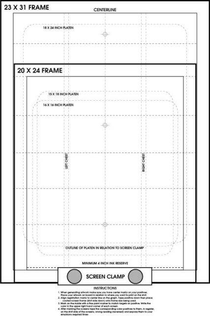 Screen Printing Pre Registration Template Film positives Transparency FREE GIFT!