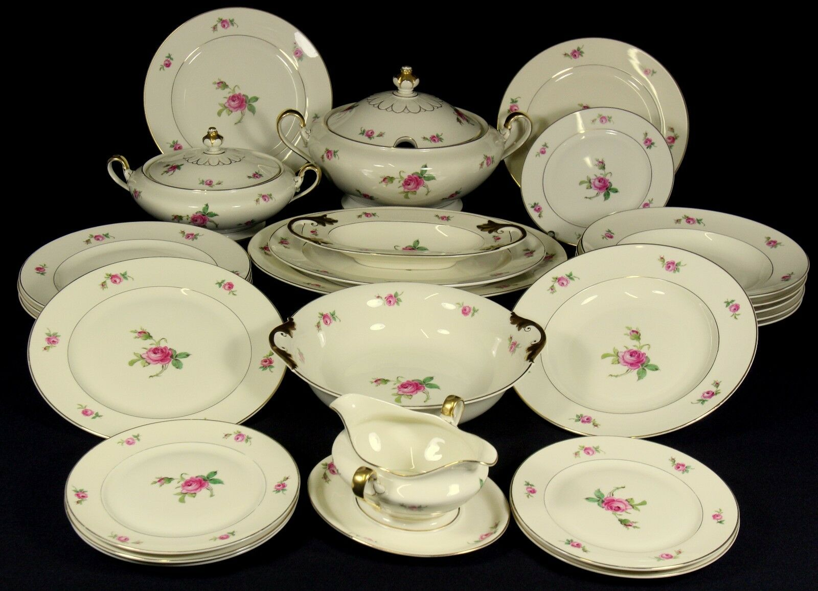 pinkNTHAL - Service SPEISESERVICE f. 6 Pers. TAFELSERVICE - IVORY pink - um 1930