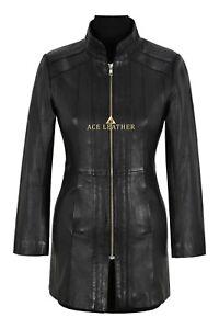 Trench-Ladies-Leather-Jacket-Black-Nappa-Mid-Length-Coat-Fashion-Designer-1021