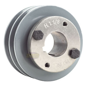 """Cast Iron 4.5/"""" 2 Groove Dual Belt A Section 4L Pulley With 1-3//8/"""" Sheave Bushing"""