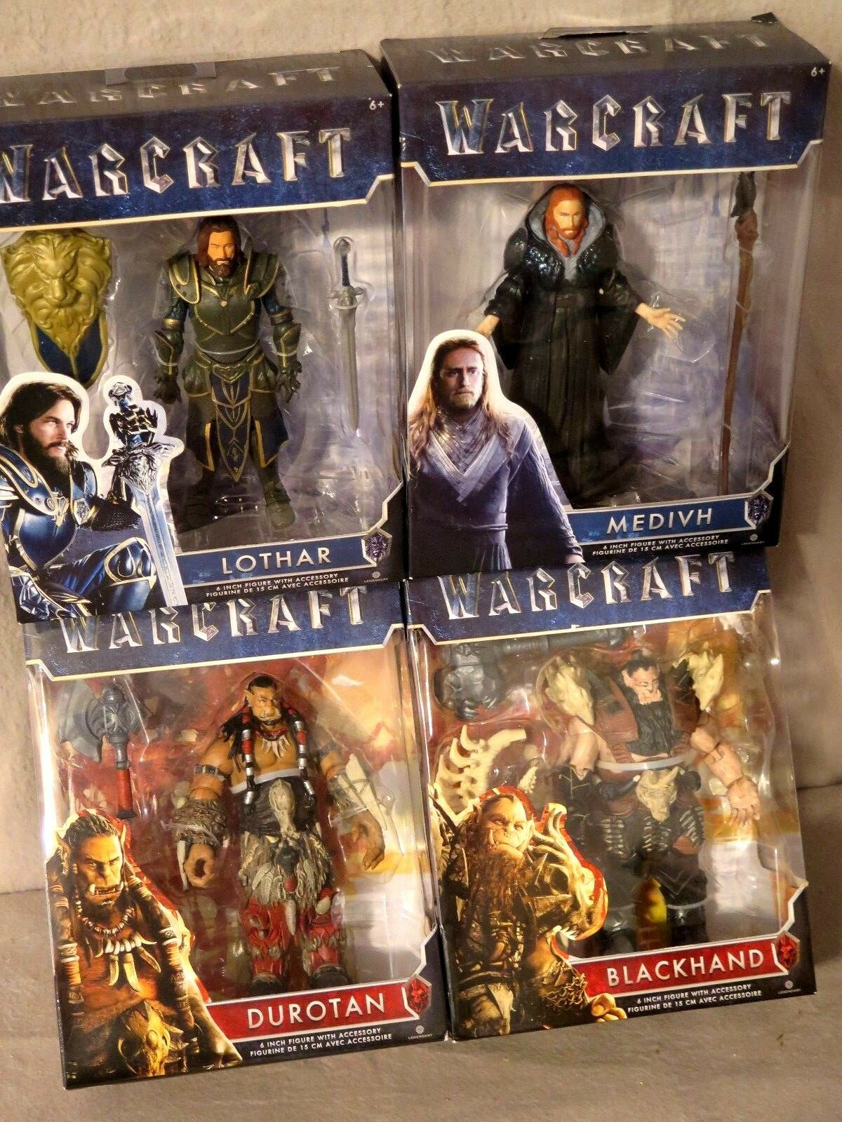 Warcraft Lot of 4 Figures w  Accessories 6  Duredan Lothar Blackhand Medivh BNIB