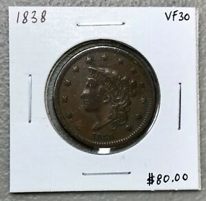 1838-MATRON-HEAD-or-CORONET-HEAD-LARGE-CENT-VF-CONDITION-C1414
