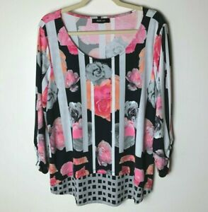 Style & Co. Women's Top Size Large 3/4 Ruched Sleeves Floral Stripes Casual Work