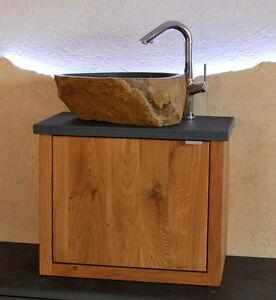 Waschtisch Eiche Wildeiche Granit Flussstein Waschbecken Marmor