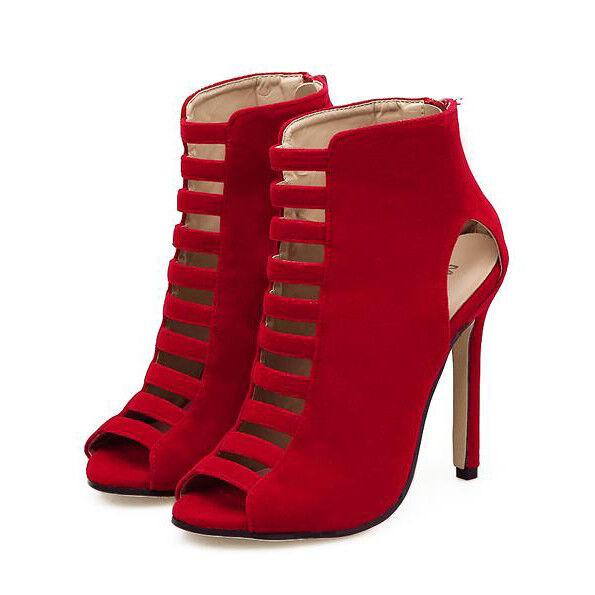Seali stivali estivi tacco stiletto 11 cm rosso pelle sintetica eleganti 9692