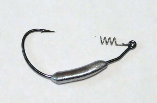 Bob4Bass Weighted Mustad 91768 Swimbait Hooks w//Snap on Coil 5 in a Pack