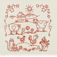 Tea Towel With Country Scene Embroidery In Redwork 16 X 26 Hand-crafted Al-029