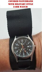 Image is loading Military-Style-Field-Watch-amp-Black-Covered-Watch- 0a10ef52f68