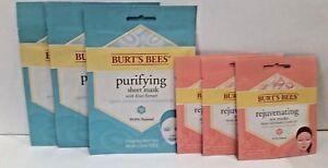 3-Sets-of-Burt-039-s-Bees-Purifying-Sheets-Masks-amp-Rejuvenating-Eye-Masks-FLA