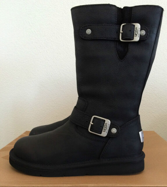 UGG Womens Size 5 (Youth Girls 3 ) Black Leather Kensington Boots 5678 W /