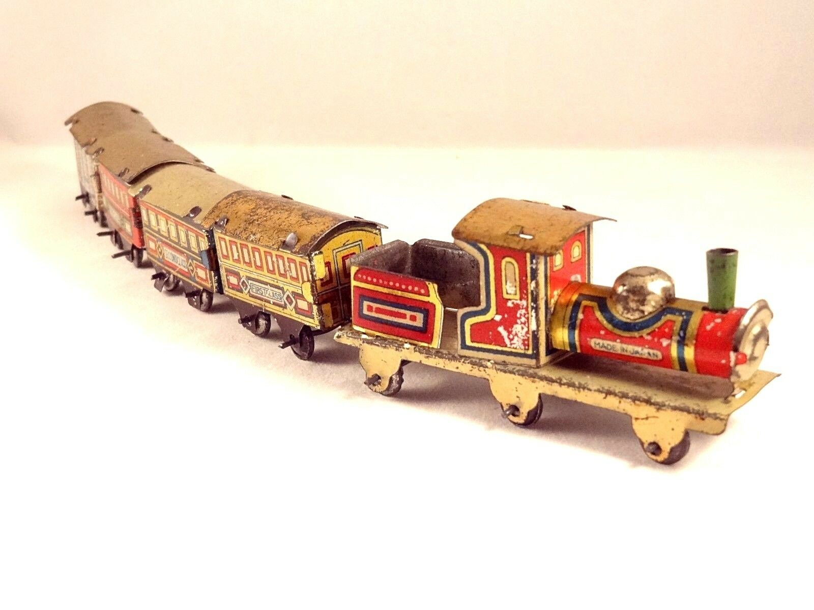 Ancien jouet train locomotive wagon tôle litho penny penny penny toy Japan 1910/20 Superbe aa4758