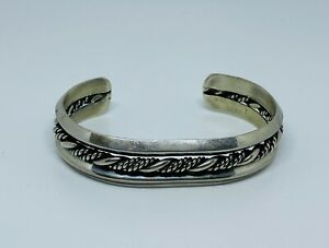 Vintage-Taxco-HEAVY-34g-STERLING-SILVER-ROPE-CUFF
