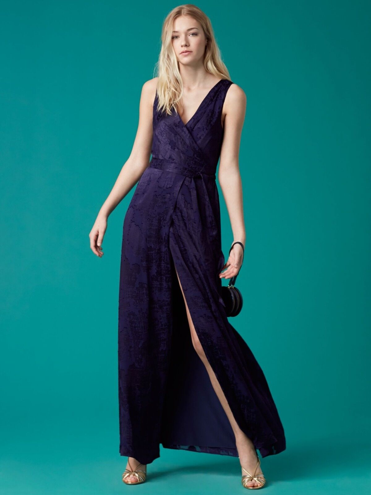 Diane von Furstenberg Sleeveless Floor-Length Wrap Dress sz 4 nwt 10528DVF