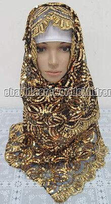 Fashion Quatrefoil Flower Sequins Muslim Long Scarf Hijab Islamic Shawls