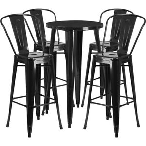 Brilliant Details About Flash Furniture 24 Round Metal Indoor Outdoor Bar Table Set With 4 Cafe Stools Forskolin Free Trial Chair Design Images Forskolin Free Trialorg