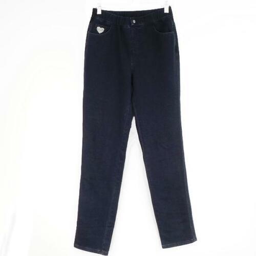 Quacker Factory Regular DreamJeannes Pull-On Slim-Leg Pants Size M Dark Indigo