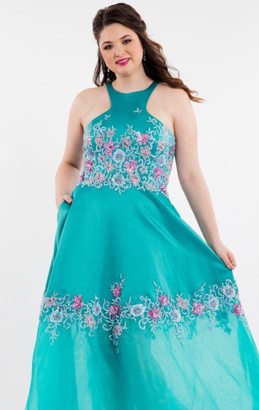 Rachel Allan 7848 Jade Green Pageant Prom Gown Dress sz 16W