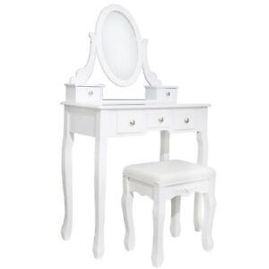 Tavolo-di-toeletta-bianco-Set-CASSETTIERA-BAMBINI-toeletta-SPECCHIO-SGABELLO-tavolo-cosmetici