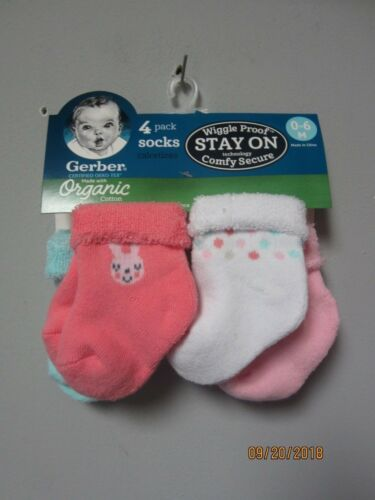 Gerber Baby Girl 4-Pack Organic Cotton Pink Bunny size 0-6M Wiggle Proof Socks
