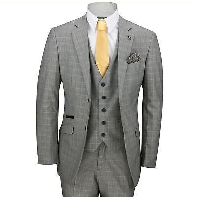 Xposed New Mens 3 Piece Tailored Fit Tan Brown Formal Prince of Wales Check Smart Retro Vintage Suit